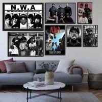 N W A     peinture sur toile avec Star Ice Cube Dr Dre eazy-e  affiche dart de la vieille ecole  decor mural pour la maison