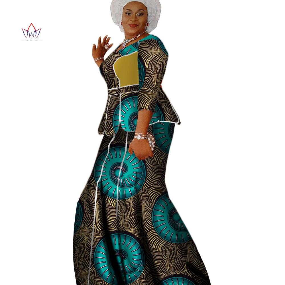 Africano para Mulheres Saia de Impressão Verão Duas Peças O-pescoço Conjunto Roupas Africanas Tamanho Grande Femininas Algodão Regular Nenhum Wy2560 2022