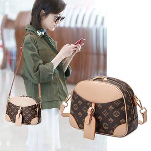 New Vintage Printed Shell Bag Ladies Fashion Shoulder Bag Leather All-match Crossbody Bag Luxury Semicircle Women Bag