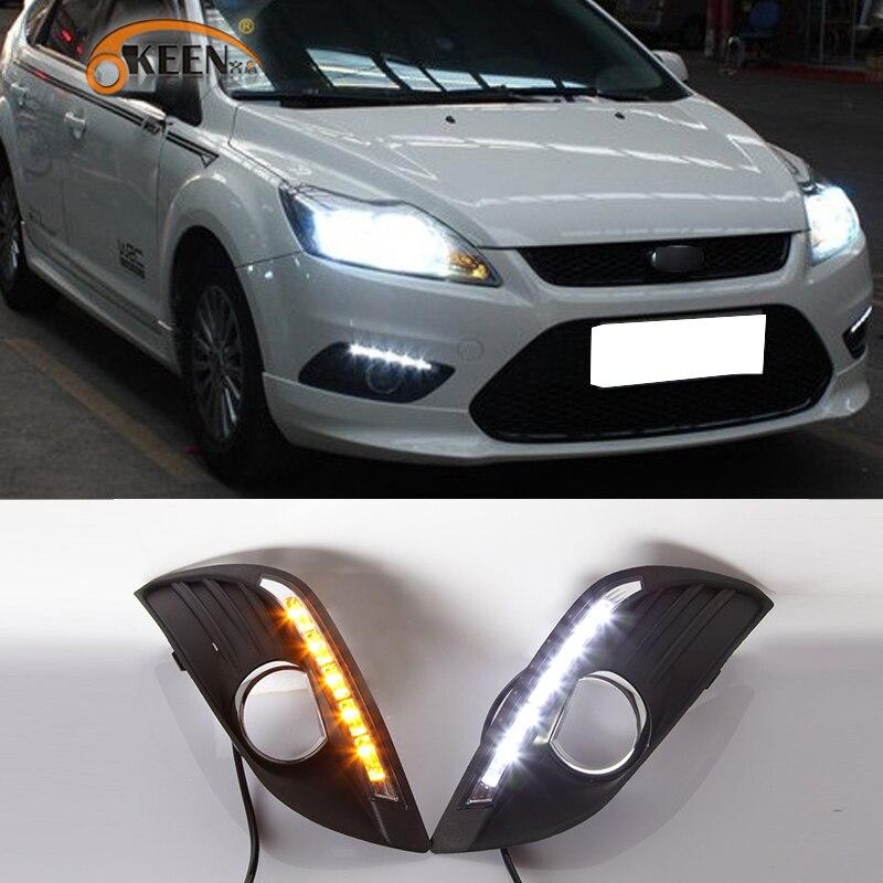 2 uds para Ford Focus 2 MK2 2009, 2010, 2011, luz Led de conducción diurna amarillo luz de señal de giro de impermeable 12V DRL niebla lámpara