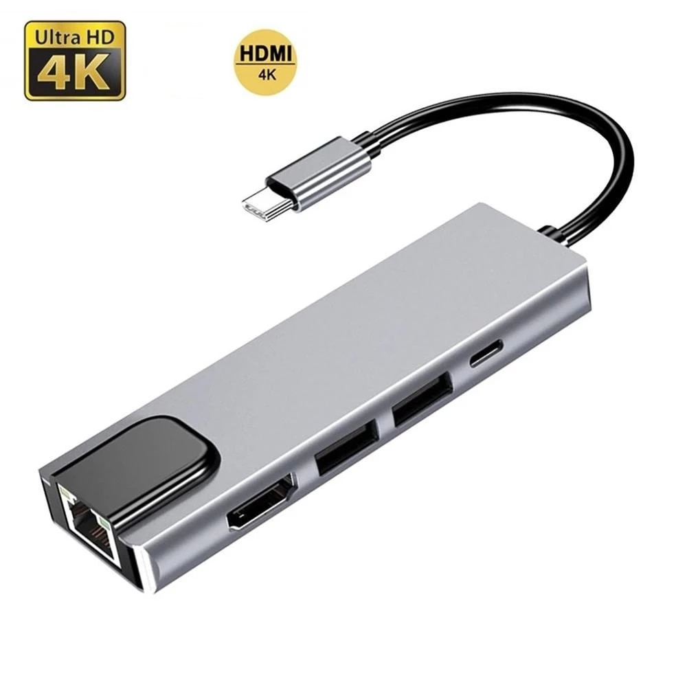 Hub USB 3,0 Tipo C Para HDMI-compativel RJ45 PD USB 3,0 Multi...