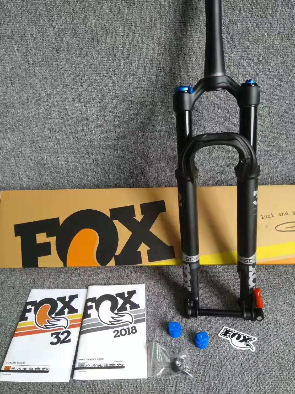 "2018 27,5 ""29 horquilla Fox Float 32 Air volumen Extra paso SC fundido 100mm viaje MTB bicicleta de montaña horquilla 15MM * 100MM a través del eje negro"