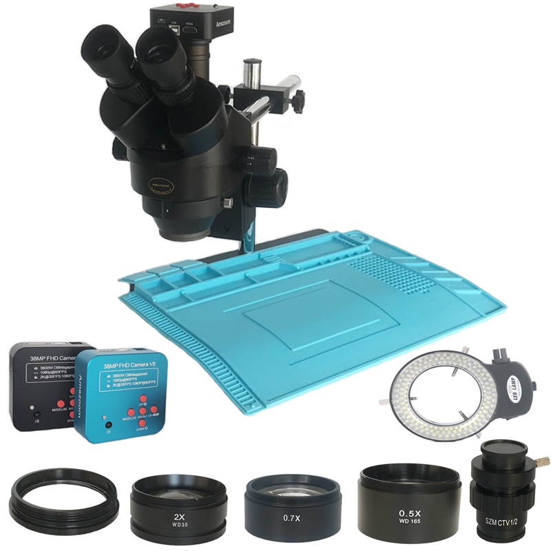 3.5X-90X سيمول البؤري لحام ثلاثي العينيات مجهر ستيريو 38MP USB الرقمية HDMI فيديو مجهر الكاميرا مجوهرات إصلاح الهاتف