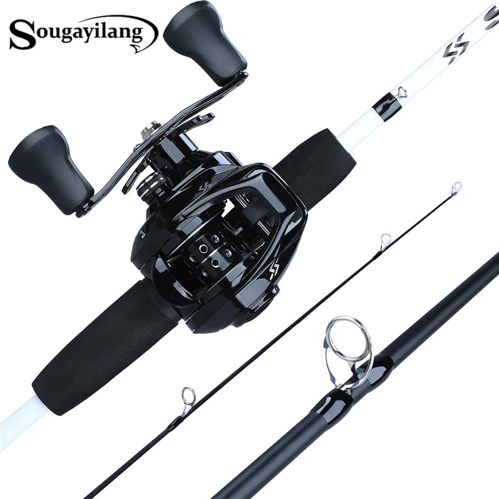 Sougayilang 1,75 m caña de pescar Combo 3 sección fundición de carbono caña de pescar con 12 + 1BB Baitcasting carrete Kit de aparejos de Pesca