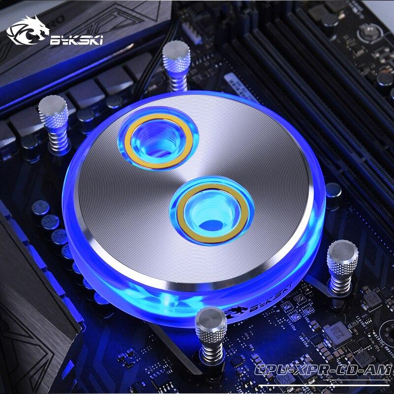 BYKSKI Water Cool Block for AMD Ryzen ThreadRipper Ryzen 7/Ryzen 5/Ryzen 3/AM4/AM3+/AM3/AM2+/AM2/FM2+/FM2/FM1 Copper Radiator