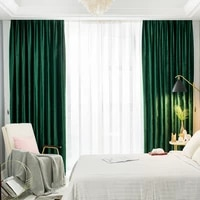 nordic style curtains for living dining room bedroom soft design dark green gloss italian flannel stage curtains customization