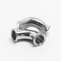 45mm 63mm 304 sanitary stainless tri clamp 90 degree elbow stainless steel elbow clamped elbow for homebrewing