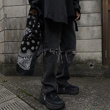 Yans2021 Autumn Winter New Korean Style High Street Hip Hop Trendy Knee Ripped Jeans Slim Pants Men