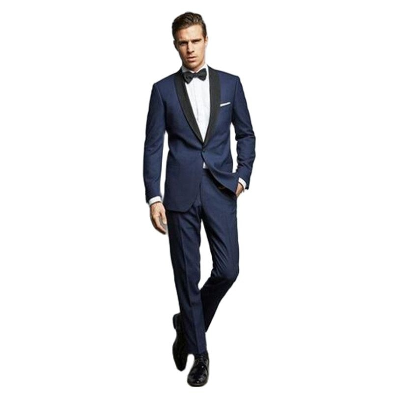 Темно-синий мужской костюм для свадьбы, на заказ, шаль с отворотом, костюм для выпускного бала, облегающий формальный смокинг для свадьбы (ку...