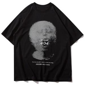LACIBLE Hip Hop Harajuku Tshirts Creative Fingerprint Print Short Sleeve Tees Shirts Streetwear Mens Summer Casual Loose Tops