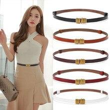 Ladies Belt Women Metal Belt Buckle Thin Genuine Leather Belts Female Jean Strap High Quality Luxury