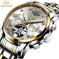 kinyued classic mens mechanical watches automatic watch tourbillon clock full steel waterproof luminous military wristwatch mens