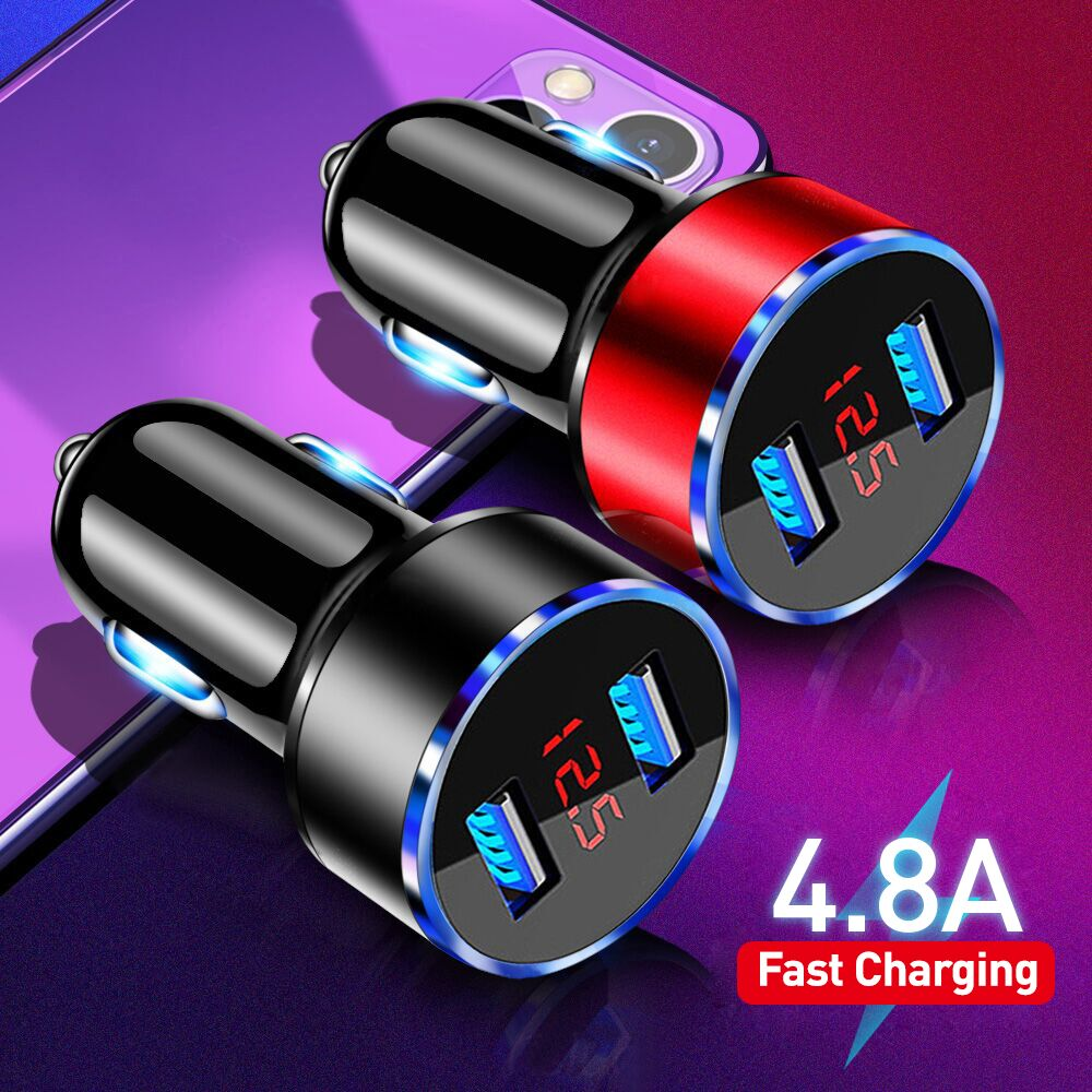 4.8A USB Phone Charger LED Display Car-Charger for Xiaomi Samsung Mobile Phone Adapter Car Charger F