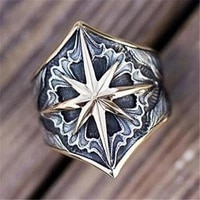 cross octagonal star mysterious pattern mens ring new fashion retro metal amulet ring accessories party jewelry size 8 13