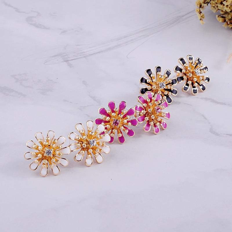 Fashion Cute Black/Pink/White Enamel Crystal Flower Stud Earring For Women Handmade Date Gift Free Shipping