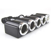 doul usb multi socket car cigarette lighter splitter plug adapter charger socket power charger adapter 1pc 4in1 dc 12v24v