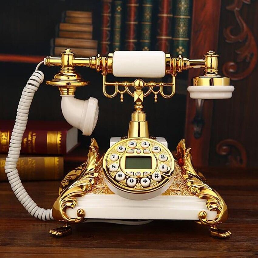 هاتف أرضي على الطراز الأوروبي هاتف محمول كلاسيكي الطراز القديم مع نظام FSK/DTMF ، معرف المتصل ، الذهب الأبيض