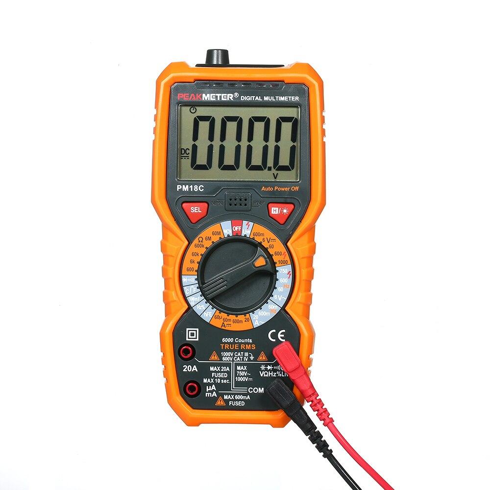 Многофункциональный цифровой мультиметр PEAKMETER PM18C, измеритель частоты, сопротивления, емкости и напряжения, AC/DC