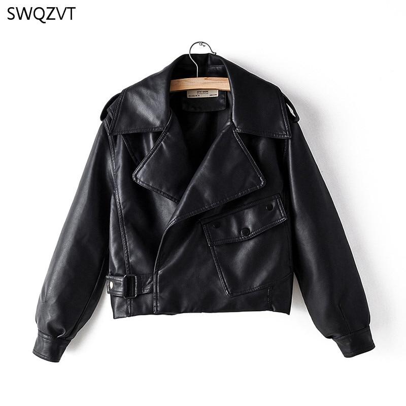 SWQZVT 2020 осень зима женская кожаная куртка с отложным воротником модные короткие