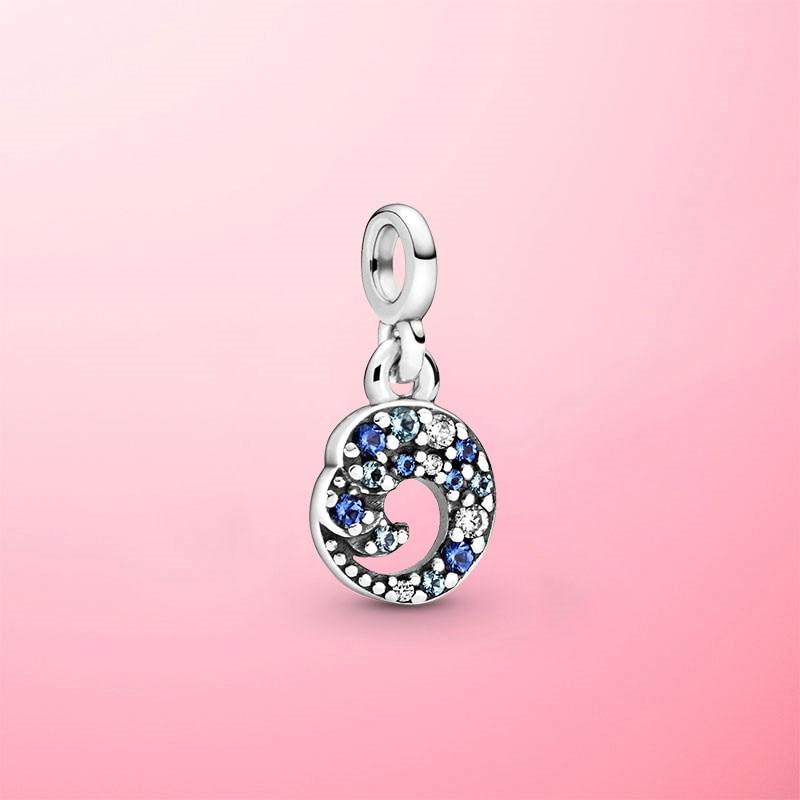 Genuíno 925 prata esterlina meu azul oceano onda balançar charme contas caber pandora original me pulseiras jóias presente
