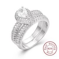 fashion 925 sterling silver drop cut 2ct diamond ring 2 in 1 luxury engagement wedding rings for women gemstone jewelry gift