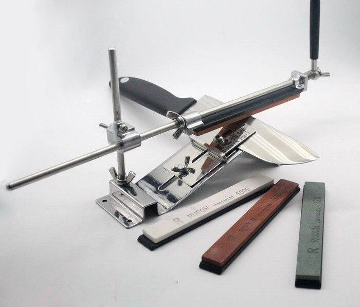 مبراة سكاكين فولاذية احترافية مع مشبك شفرات ، مبراة سكاكين مطبخ بزاوية ثابتة مع حجر IIII