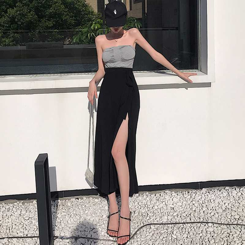 Summer Sexy Outer Wear Pleated with Chest Pad Tank-Top + Tied High Waist Split Skirt Two-Piece Set F