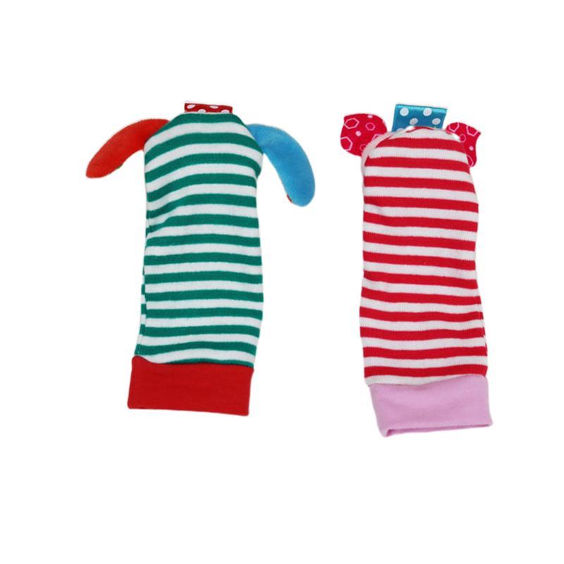 4 pçs de pulso sino brinquedos padrão animal portátil delicado algodão bonito brinquedos educativos sino meias para crianças bebê