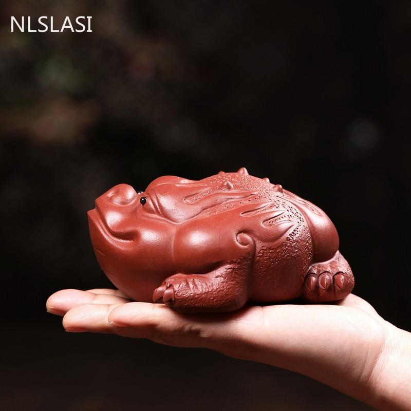 Yixing الأرجواني الطين الشاي الحيوانات الأليفة تمثال الديكور الإبداع المنزل اناء للزهور ديكور مكتب سطح المكتب محظوظ زخرفة الحرف
