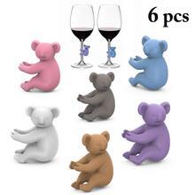 6 قطعة سيليكون كوالا الطرف علامة كأس النبيذ السحر الشرب الأصدقاء كأس تحديد كأس تحديد كأس تسميات علامة العلامات