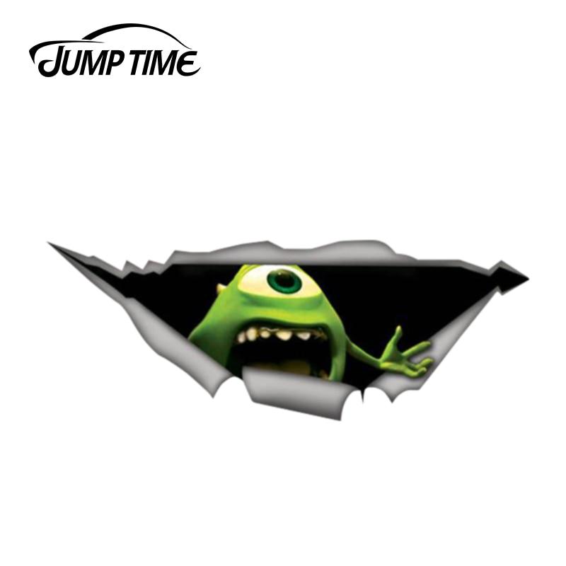 Jump Time 13cm x 4.8cm Monsters inc decal Mike Wazowski 3D Pet Graphic Vinyl Decal Car Window Laptop Bumper Animal Car Stickers