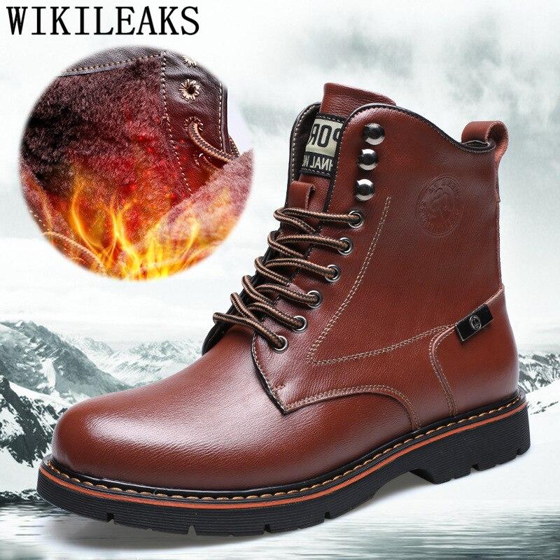 Botas de cuero genuino hombres zapatos de invierno hombres botas de tobillo...
