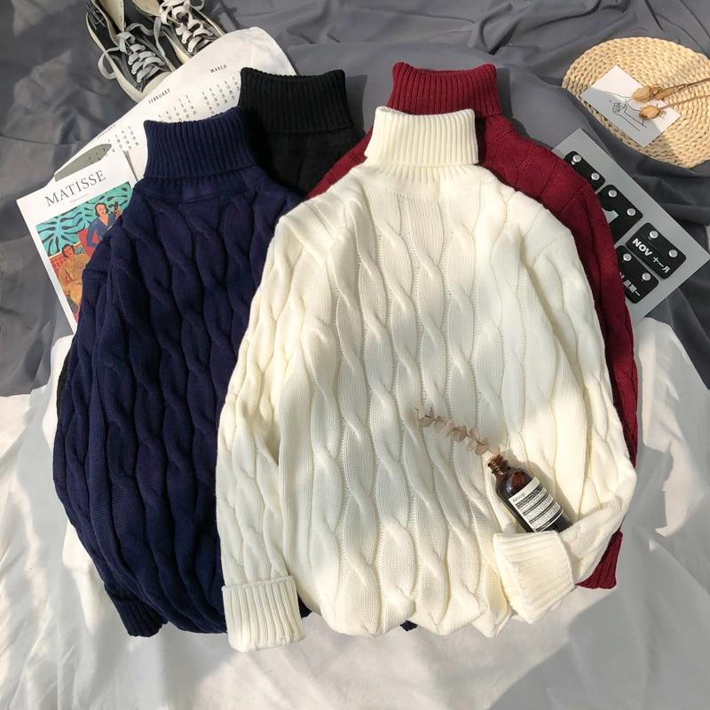 Mens Plus Size 6xl 7xl Sweater for Korean Fashion Trends Knit Clothes Twist Pattern Jumper Autumn Turtleneck Pullover Streetwear wave pattern open knit jumper