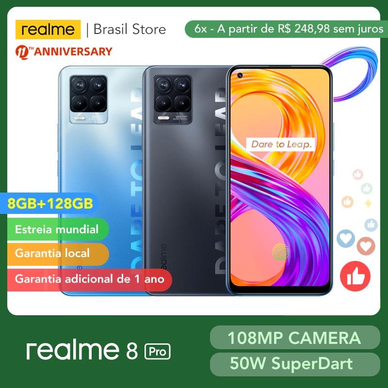 Realme 8 Pro глобальная Версия 8 ГБ 128 108MP Камера 50 Вт SuperDart заряда активно-матричные осид, Поддержка B2/B4