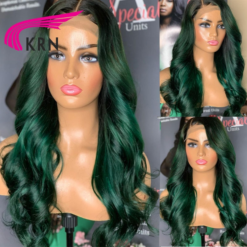 Green Color Lace Front Wigs Body Wave Remy Hair Brazilian Human Hair For Women Human Hair with Baby Hair 4x4 Closure Wigs