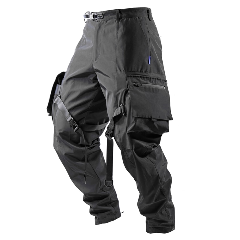 2021 Men's Classic Cargo Pants With Laces Big Pockets Waterproof Outdoor Fashion Casual Pants
