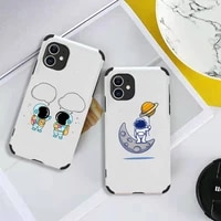 fun cartoon astronaut phone case lambskin leather for iphone 12 11 8 7 6 xr x xs plus mini plus pro max shockproof