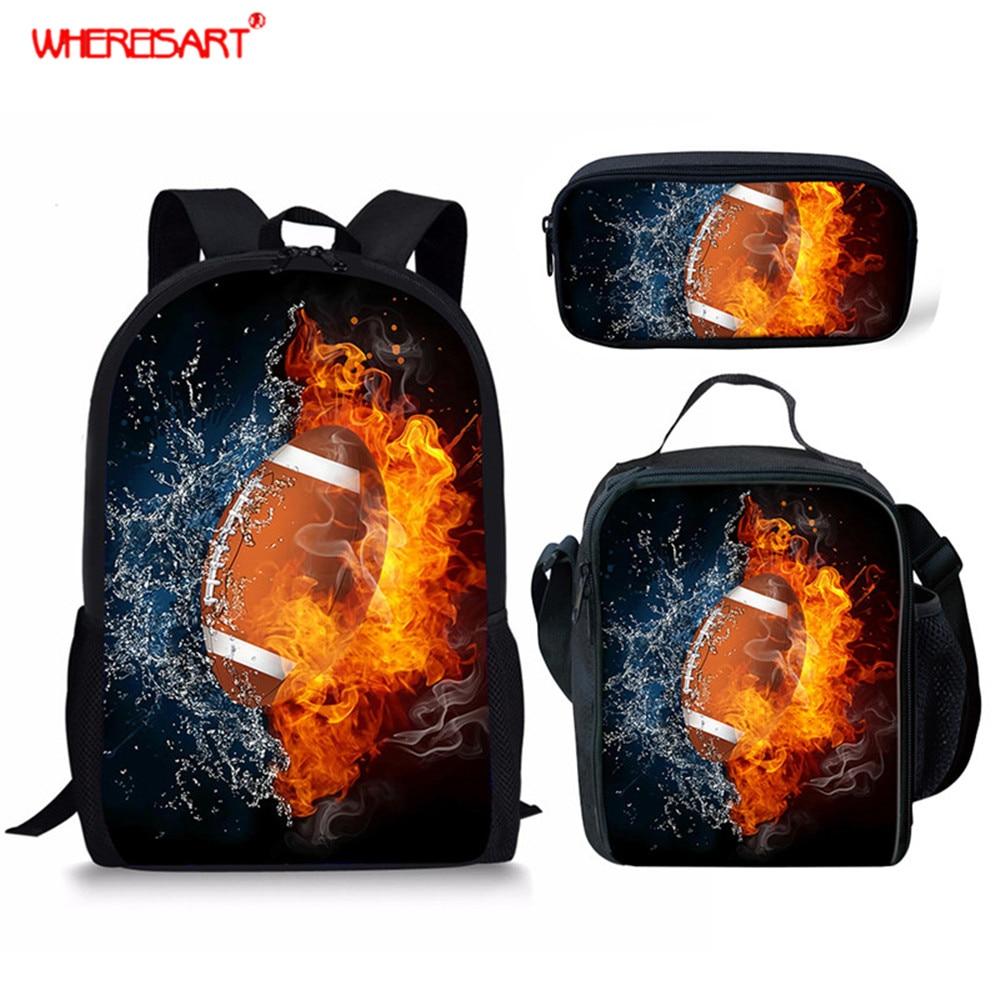 WHEREISART Kids School Bags for Girls Boys 3Pcs/Set Football Printing High School Shoulder Bag Student Sport Design Backpack Set