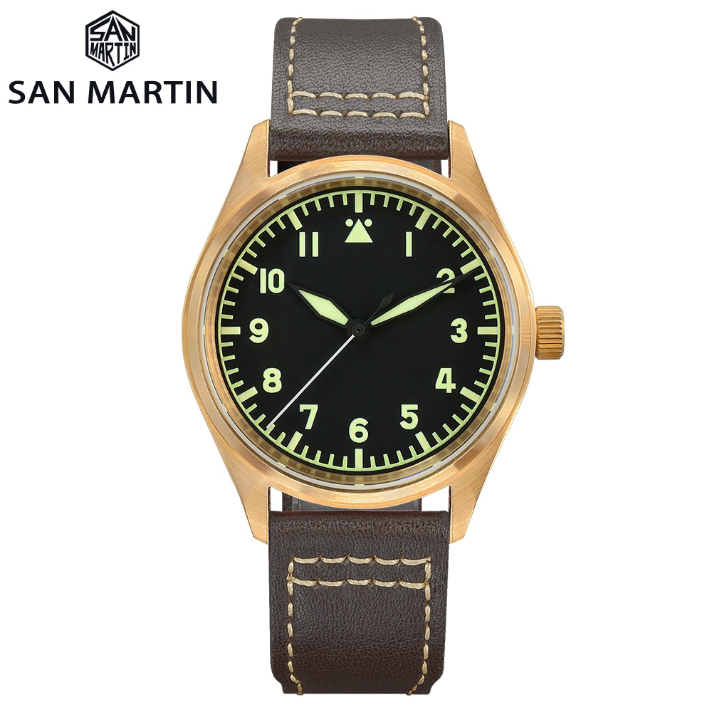 San Martin Bronze Pilot Military Watch Mechanical Simple Style Men's Watches Luminous 200m Waterproo