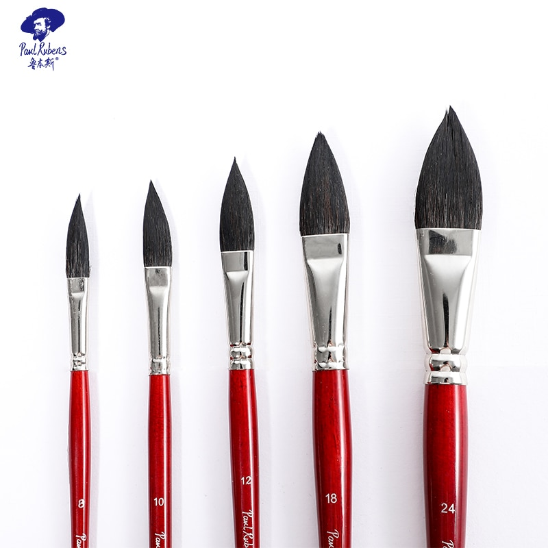 Official Pual Rubens Wine Red Watercolor Brush  Handle with Baking Finish Cat Tongue shape Watercolor Brush for Artist