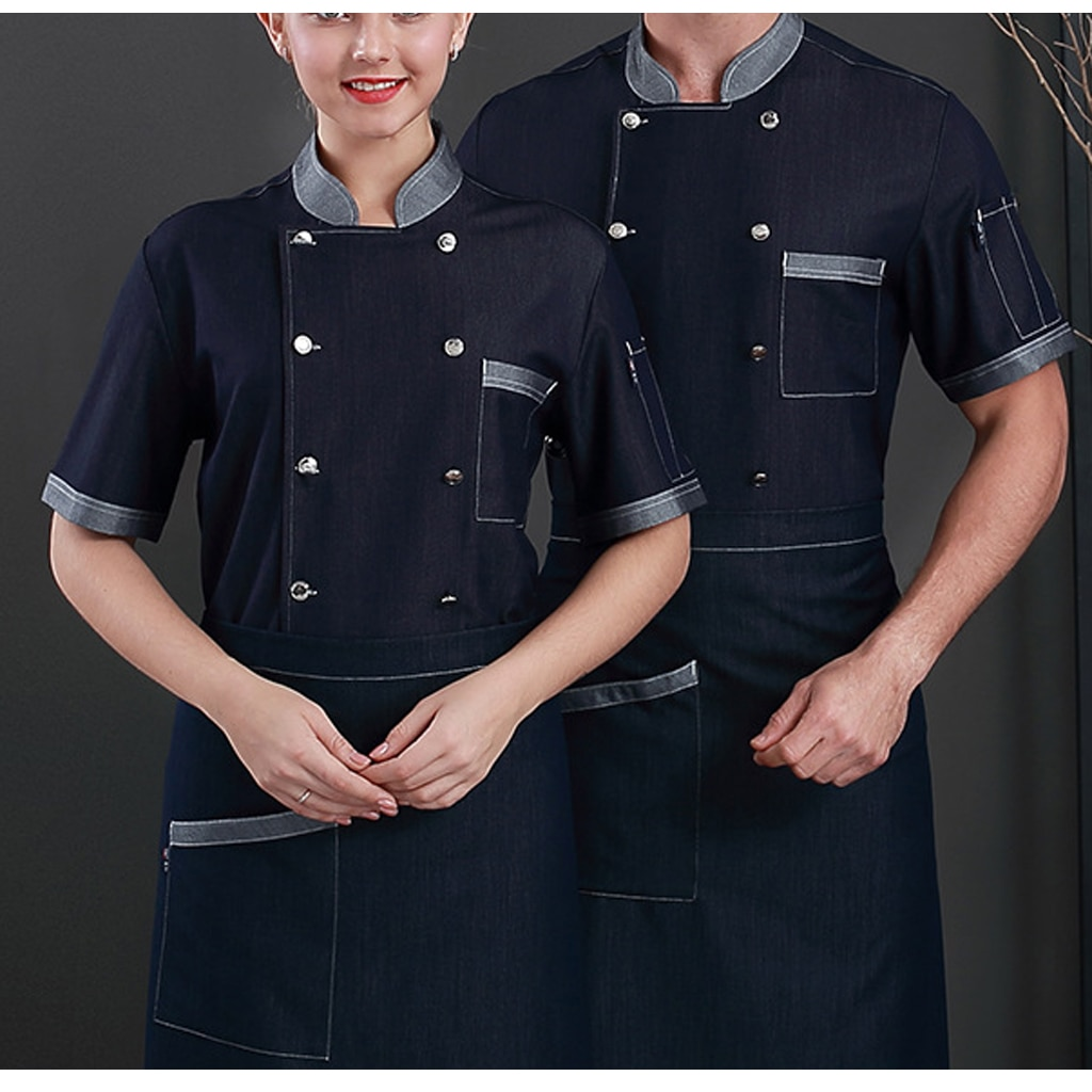 Chef jaqueta roupas lado tradicional parte botões dos homens preto manga curta casaco jeans clássico verão restaurante cozinhar uniformes