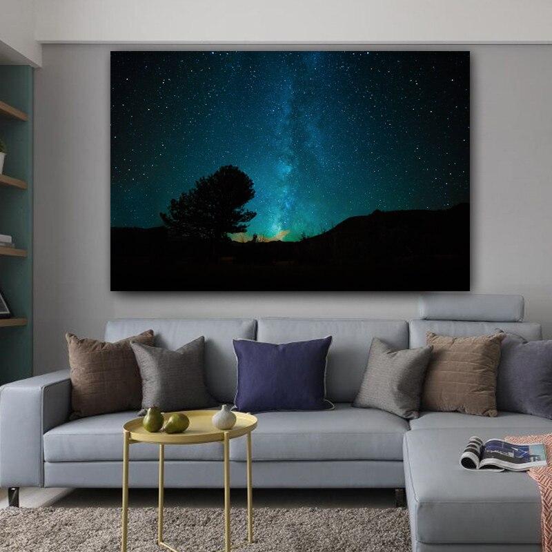 RELIABLI arte lienzo pintura cielo nocturno estrellas espacio Cuadros carteles e impresiones decoración del hogar pared arte Cuadros para habitación NO marco