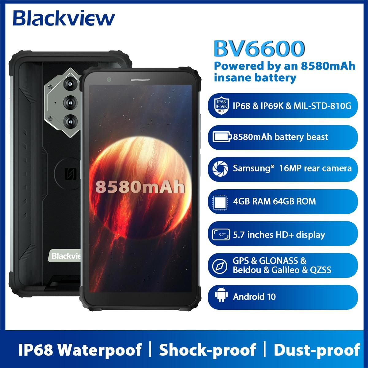Blackview BV6600 Android 10 прочный смартфон IP68 Водонепроницаемый 8580 мАч Восьмиядерный 4 Гб + 64 Гб 5,7 дюйм FHD мобильный телефон 16MP камера NFC