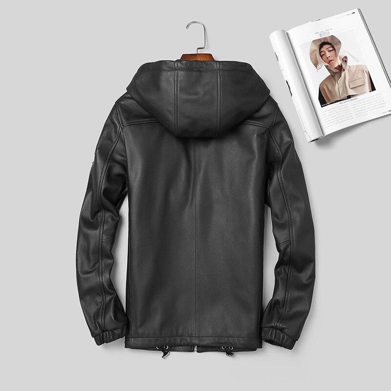 2021 original nuevo chaqueta de cuero de los hombres con capucha primavera...