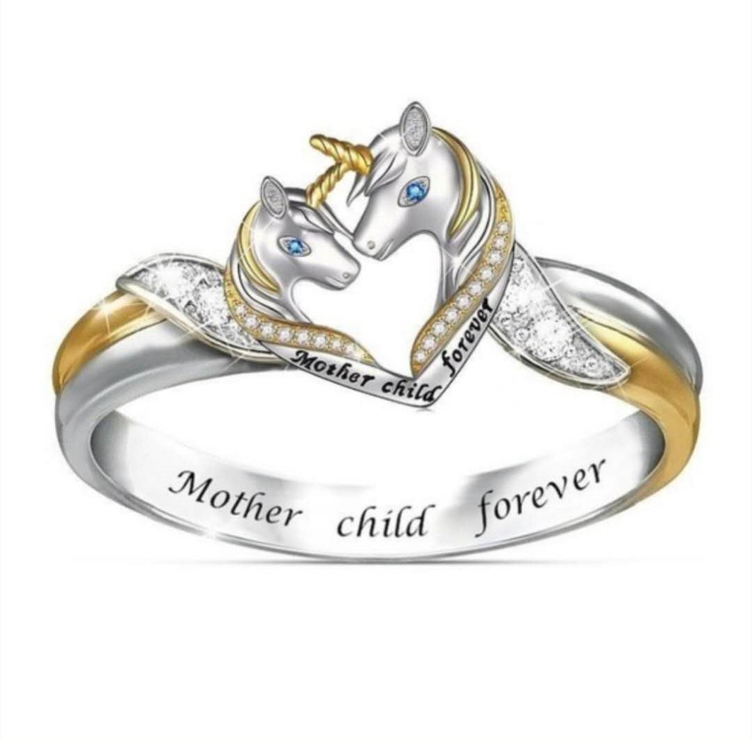 NPKDS lindo unicornio anillo para padres e hijos niñas dibujo Animal anillo cúbico unicornio madre e hijo para siempre anillo regalo