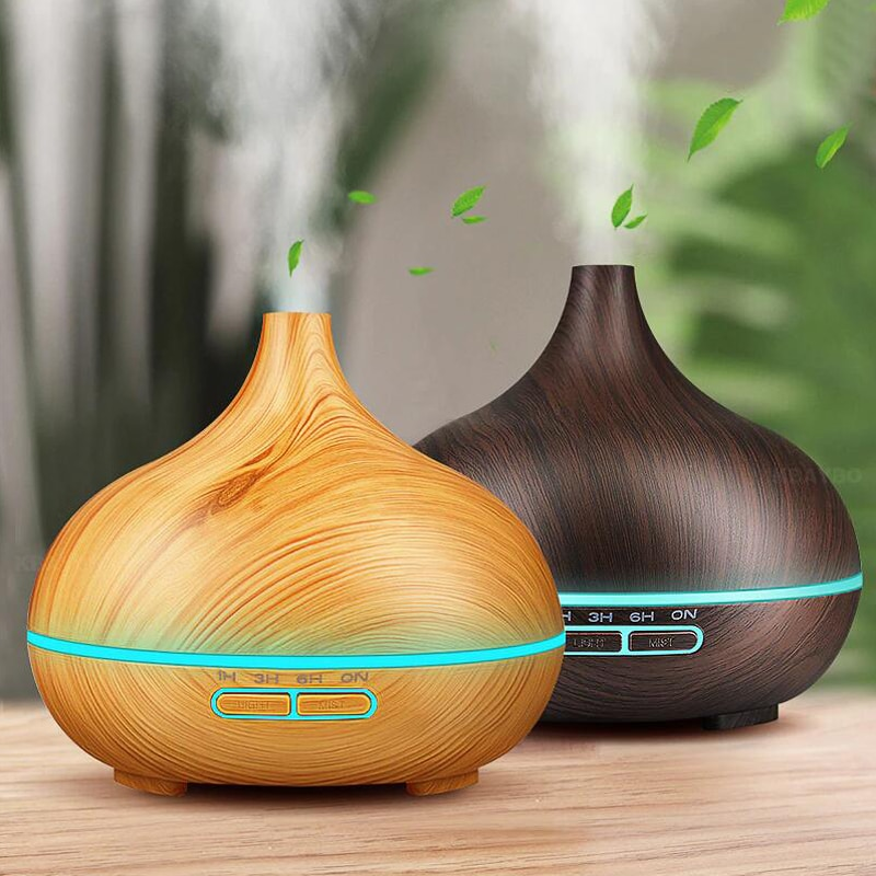 2021 Aroma Essential Oil 550ml Diffuser Ultrasonic Air Humidifier with Wood Grain LED Lights for Office Home