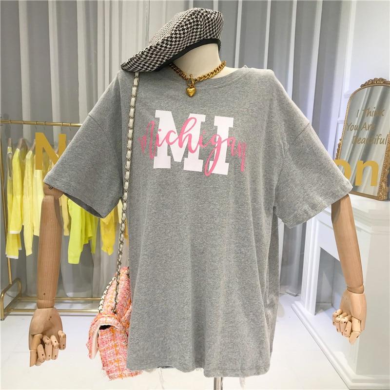2020 verão solto tshirt feminino casual carta o pescoço das mulheres estendido t-shirts cinza feminino camisa simples