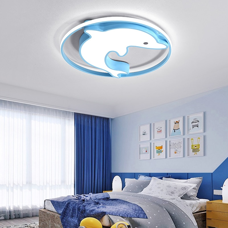 Lámpara led de delfín nórdico para decoración del hogar, luces de techo...