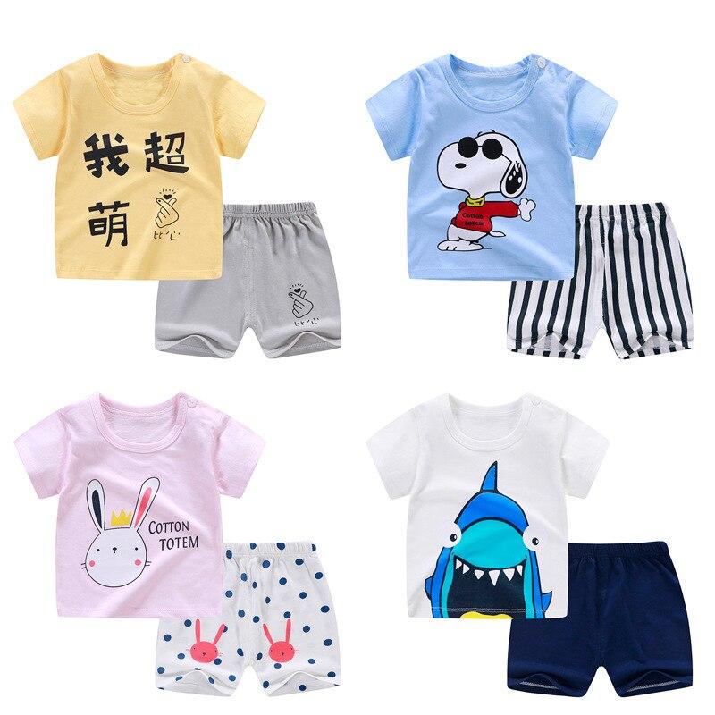 Летние комплекты детской одежды, одежда для маленьких мальчиков и девочек, хлопковый Детский костюм с мультяшным принтом, комплекты одежды ...