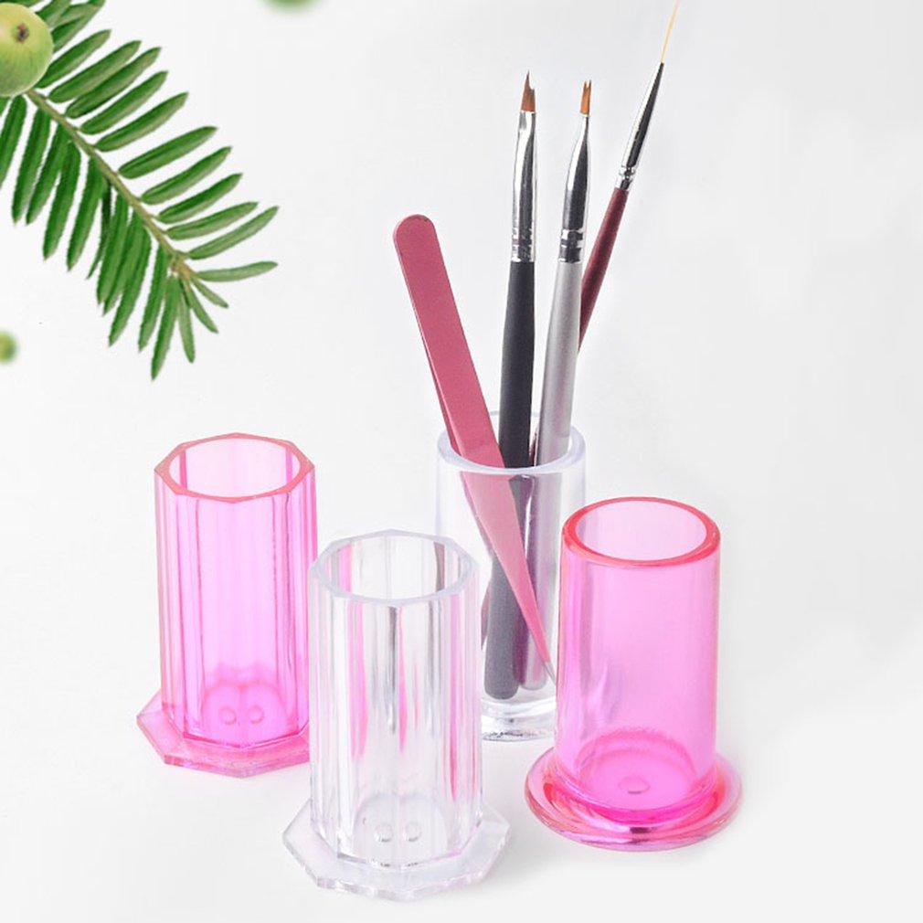 Herramientas de manicura de uñas transparentes de plástico soporte de almacenamiento de plumas de dibujo de uñas tampón archivos de molienda organizador caja contenedor